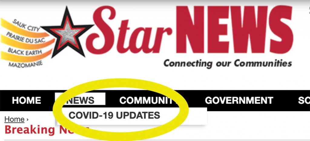 "For all COVID-19 news updates and local resources click here, or navigate to the COVID-19 link under ""News"" in the main menu."