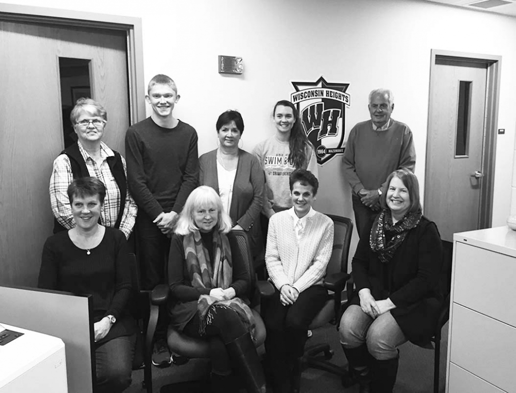 The Wisconsin Heights Education Foundation would like to introduce our new board: (back row) Dianne Roelke, Brennan Zander (student for 2019-...